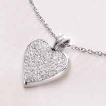 Engraved Heart Necklace with Crystals